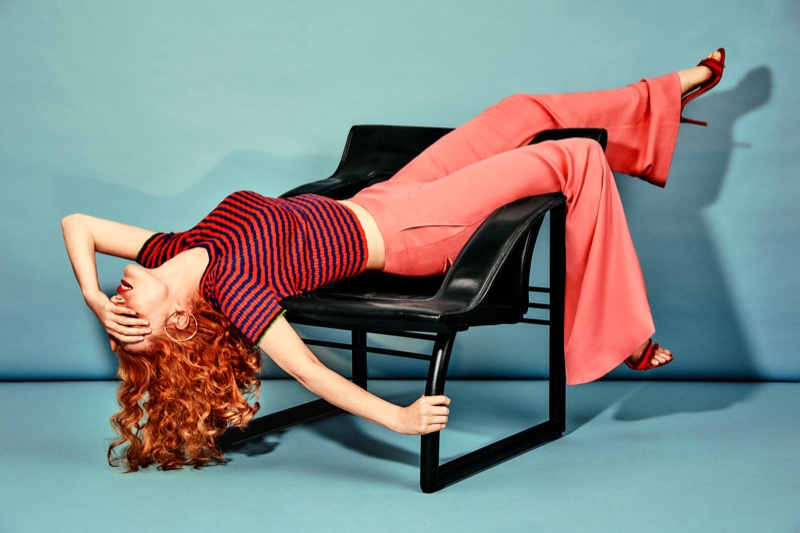 Actress Jessica Chastain poses in striped Proenza Schouler top with Rachel Zoe pants and Gianvito Rossi sandals