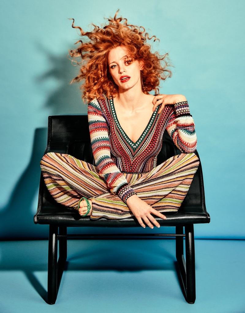 Jessica Chastain takes a seat in Missoni top and pants with Gianvito Rossi sandals