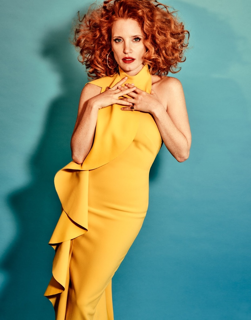 Jessica Chastain Turns Up the Glam in The Edit Cover Shoot