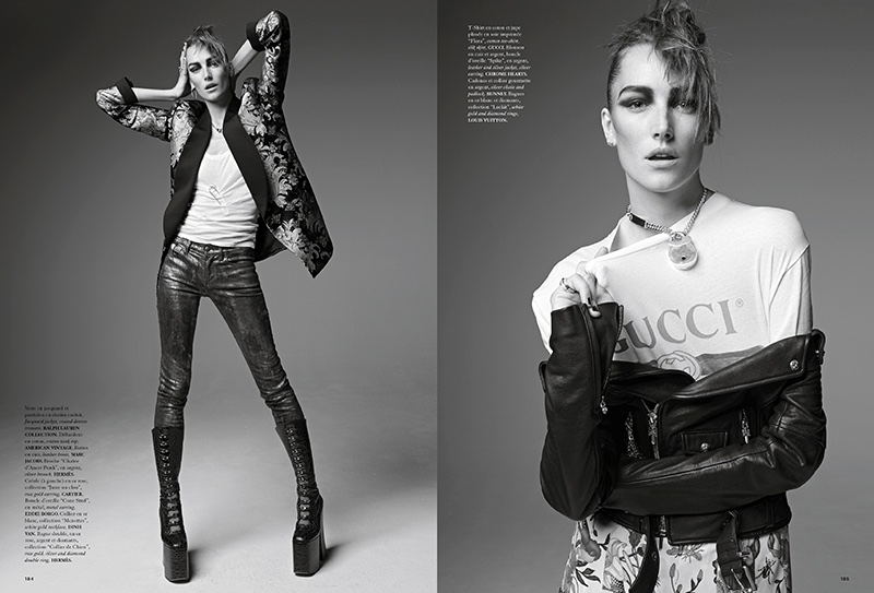 The model poses in punk inspired fashions for the editorial