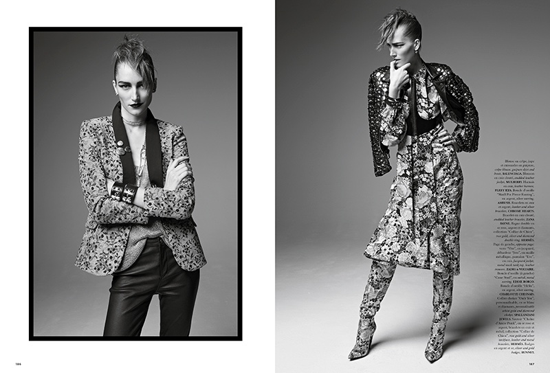 Josephine le Tutour models floral prints with a rock and roll edge