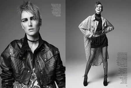 (Left) Josephine le Tutour models Louis Vuitton cropped leather jacket with floral print dress (Right) The model poses in Prada floral print trench