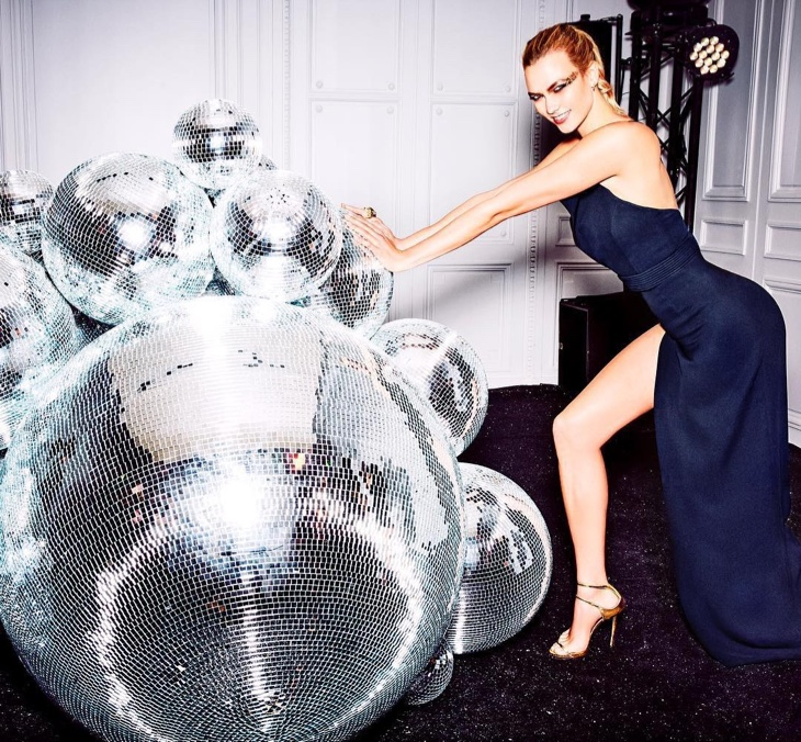 Karlie Kloss turns up the shine in a blue gown