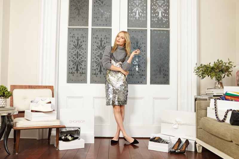 Actress Kate Bosworth poses in Parker Benny Dress, Autumn Cashmere Boxy Cashmere Sweater and Paul Andrew Rhea Suede Flats