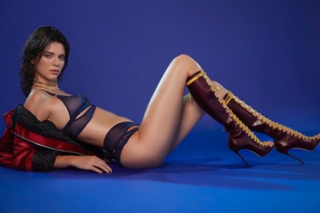 Kendall Jenner wears Agent Provocateur lingerie with DSquared2 boots