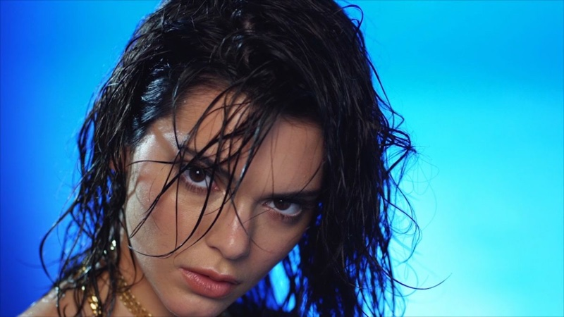 Model Kendall Jenner smolders with a wet hairstyle