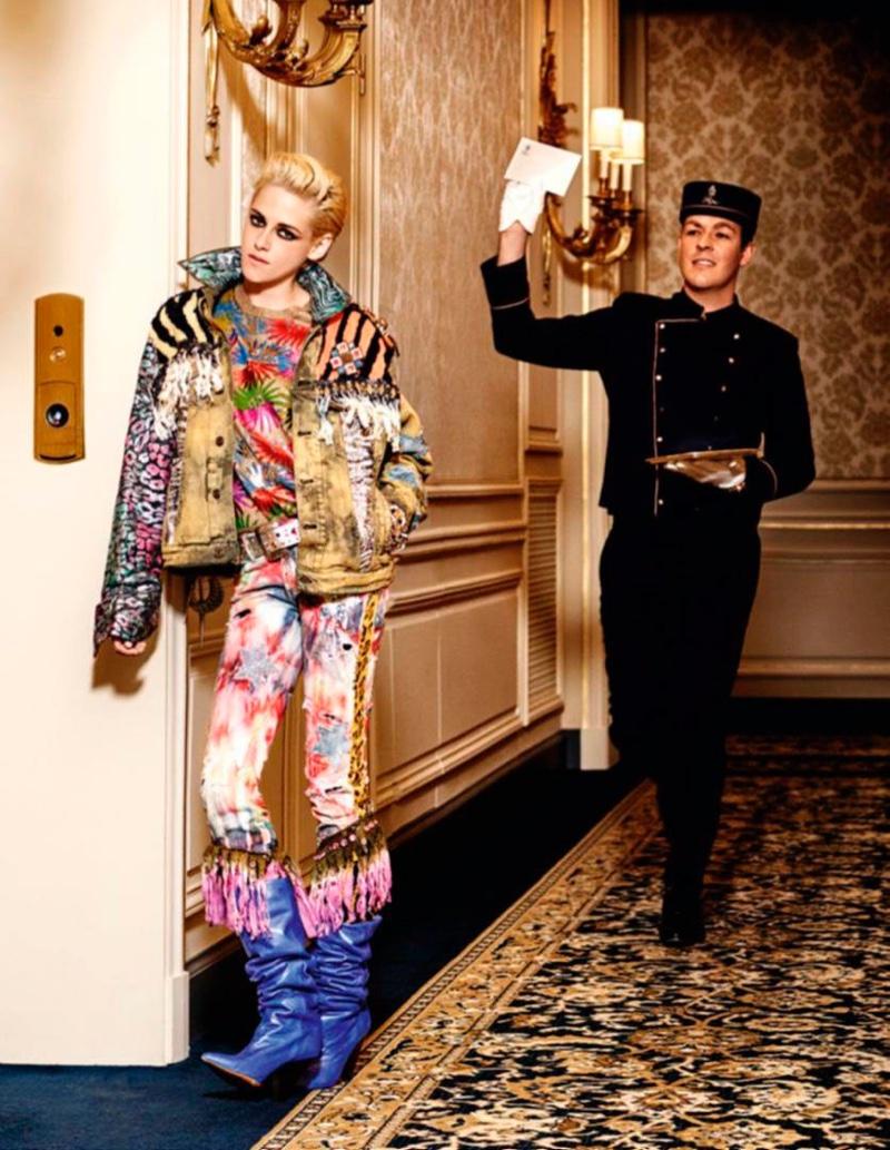 Kristen Stewart poses at The Ritz Paris for the fashion spread