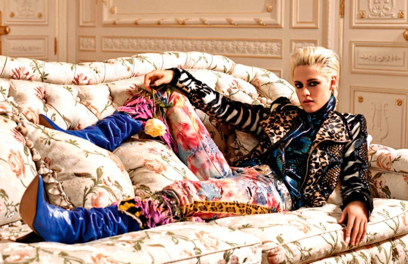 Mixing prints, Kristen Stewart serves rock and roll vibes