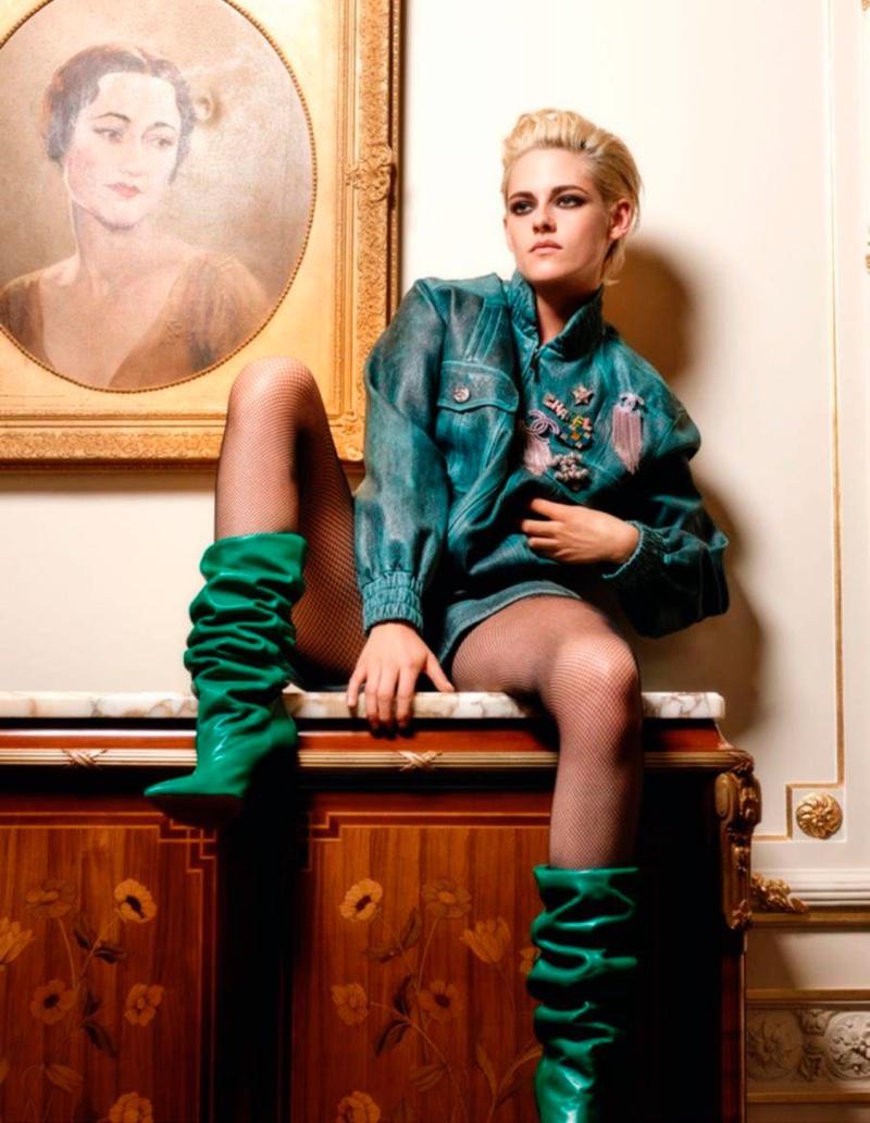 Actress Kristen Stewart wears green jacket with Chanel embellishments