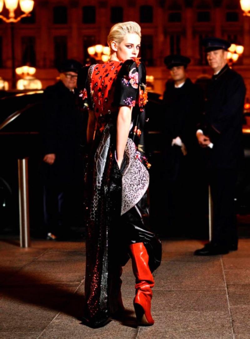 Actress Kristen Stewart poses at the Ritz Paris at night