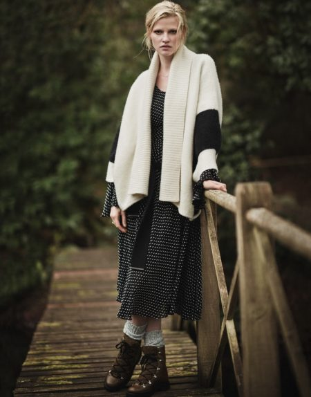 Lara Stone Poses in Cozy Winter Fashions for The Edit