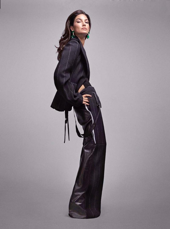Model Lily Aldridge poses in Proenza Schouler dress with Gucci platform sandals