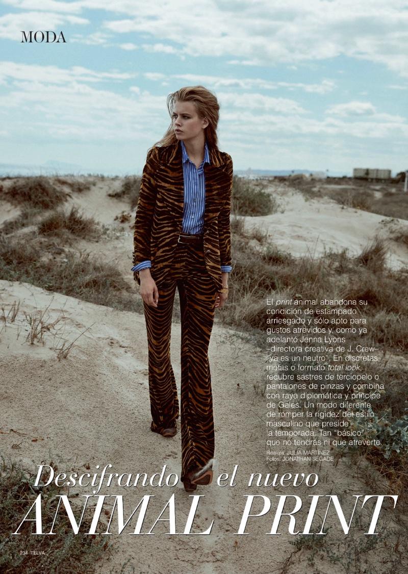 Model Linda Slava embraces animal print in a Roberto Cavalli print suit
