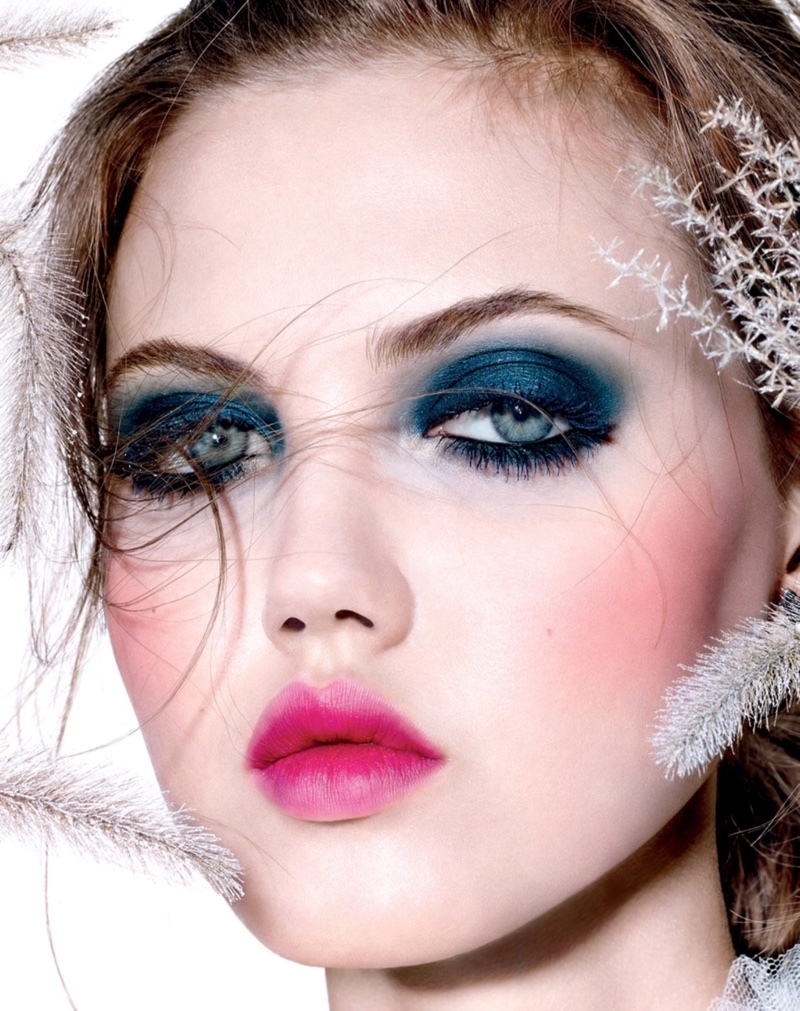 Lindsey Wixson stuns in blue eyeshadow with pink lip color