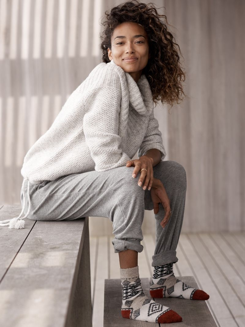 Madewell Snowbound Drawstring Pullover Sweater, Stay-In Pajama Pants and Diamond Carpet Trouser Socks