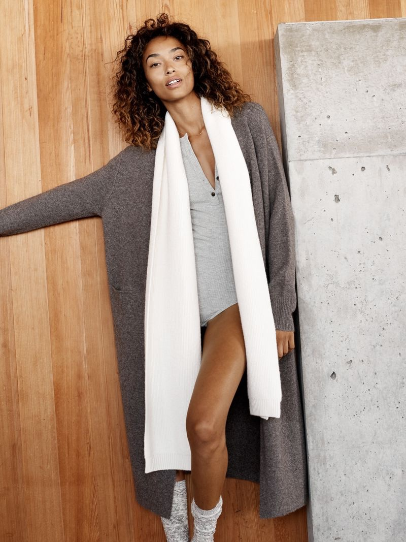 Madewell Fireside Cardigan Sweater, Demo Henley Bodysuit, Ryder Ribbed Scarf and Marled Boot Socks