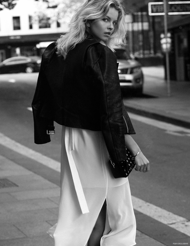 C/Meo Collective White Dress, Sir the Label Leather Jacket, Bag Alexander Wang
