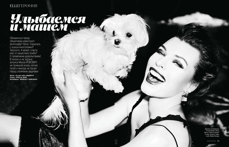 Milla Jovovich poses in Nina Ricci dress with Eddie Borgo jewelry