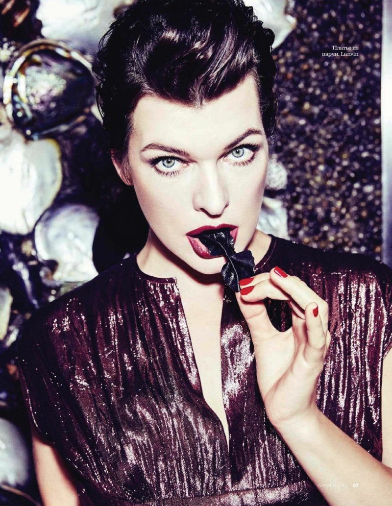 Actress Milla Jovovich is alluring in Lanvin dress