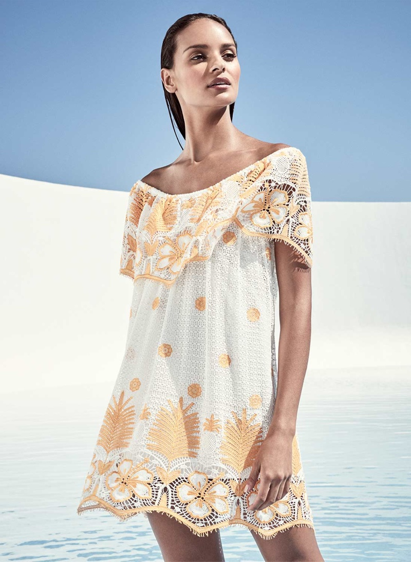 Miguelina Angelique Off-the-Shoulder Tropical Lace Coverup Dress