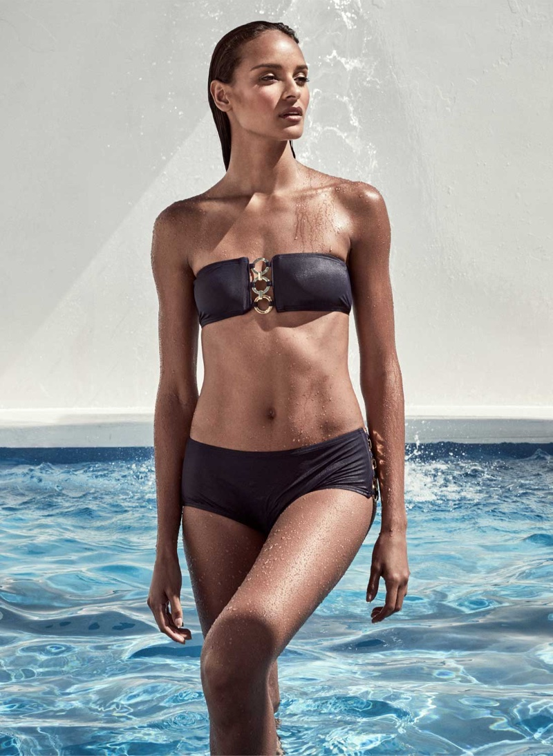 Michael Kors Ring-Chain Bandeau Two-Piece Swimsuit