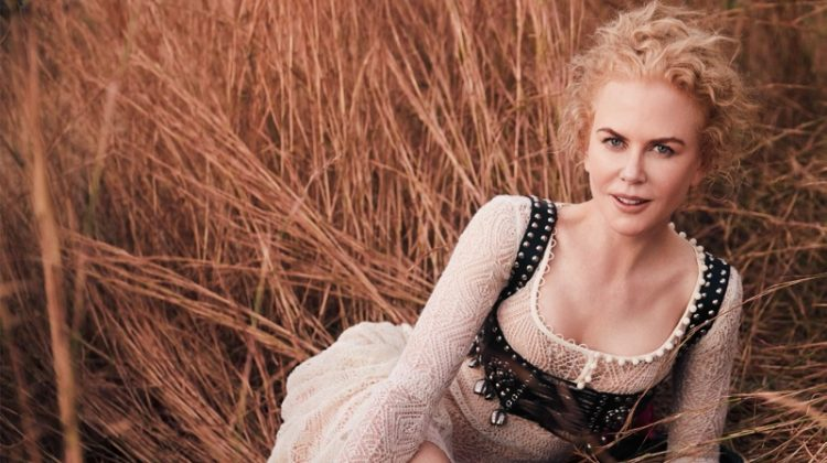 Actress Nicole Kidman poses in Alexander McQueen dress and Stetson boots