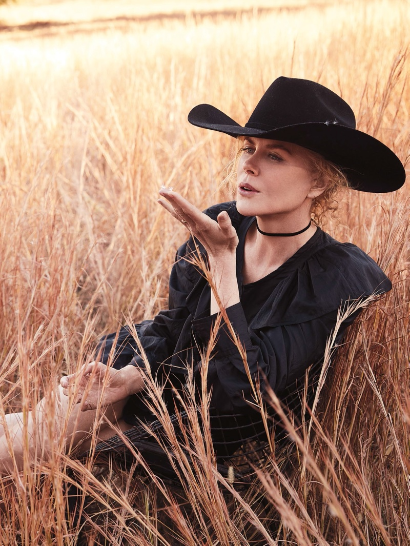Nicole Kidman looks western chic in Isabel Marant top and skirt with Stetson hat