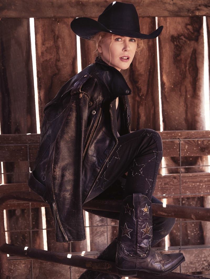 Clad in black, Nicole Kidman wears Bassike t-shirt, Stella McCartney jeans and Stetson hat and boots
