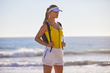 Lisa Marie Fernandez Jasmine Bonded Maillot, Heroine Sport Tennis Training Shorts, adidas by Stella McCartney Cotton Visor and Run Backpack