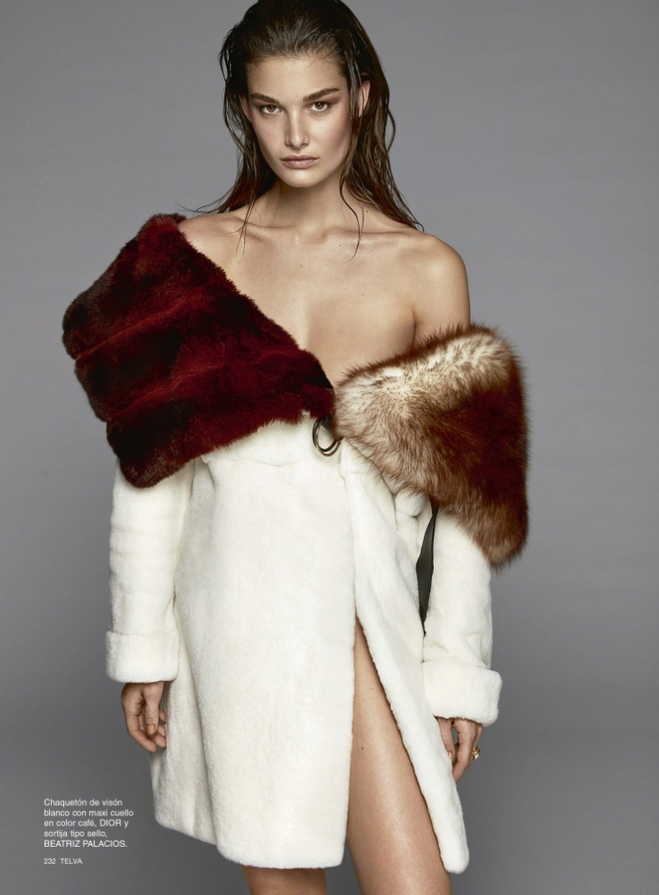 Ophelie Guillermand models mink Dior jacket with brown collar