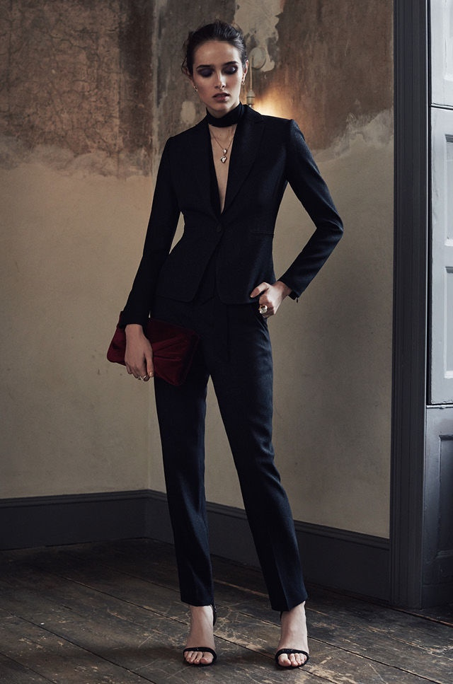 REISS Simona Jacket and Trouser, Malva Crystal Embellished Heels, Bridie Double Pendant Gold Necklace and Beau Velvet Clutch