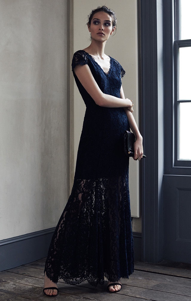 REISS Haelo Lace Dress in Night Navy, Malva Crystal Embellished Heels and Rosa Chainmail Shoulder Bag