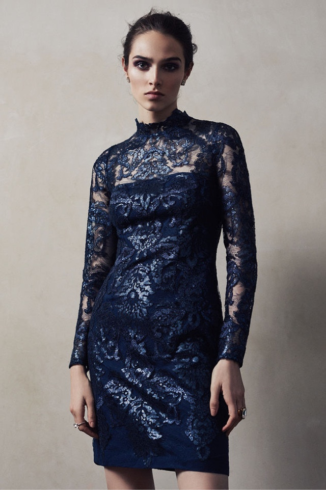 REISS Asabi Bodycon Dress in Midnight
