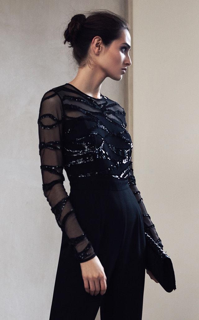 REISS Salie Embellished Jumpsuit in Black and Mina Beaded Evening Bag