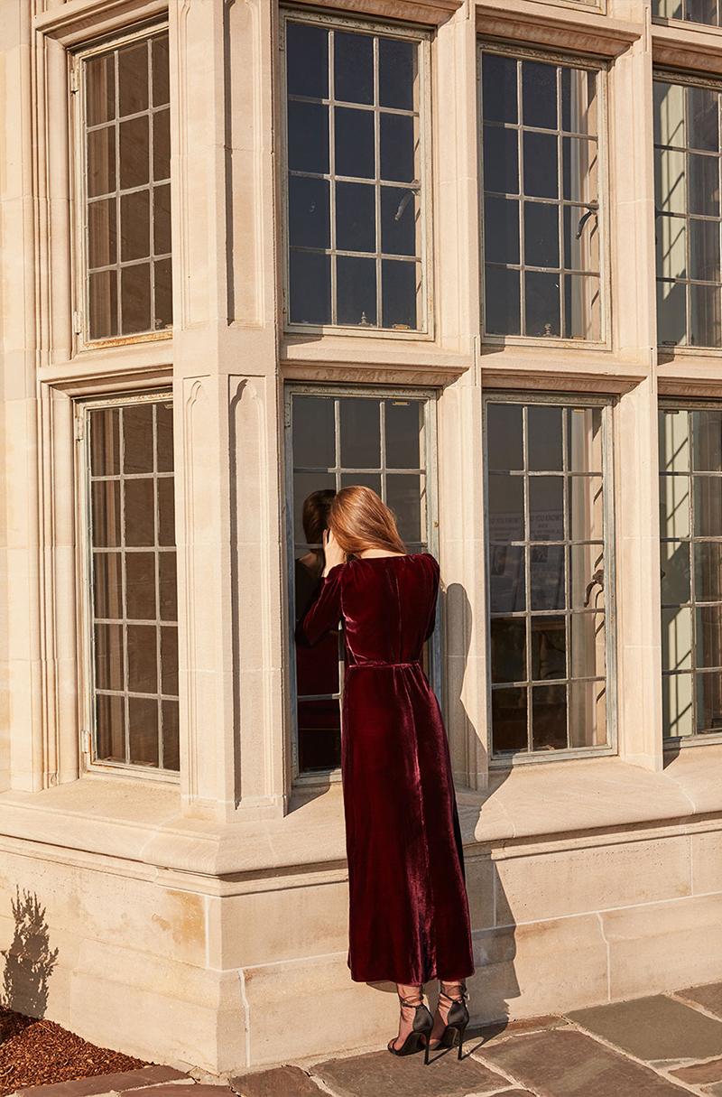 Reformation Grenache Dress in Garnet