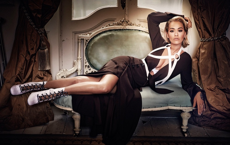 Turning up the bombshell factor, Rita Ora wears Sportmax dress and Prada boots