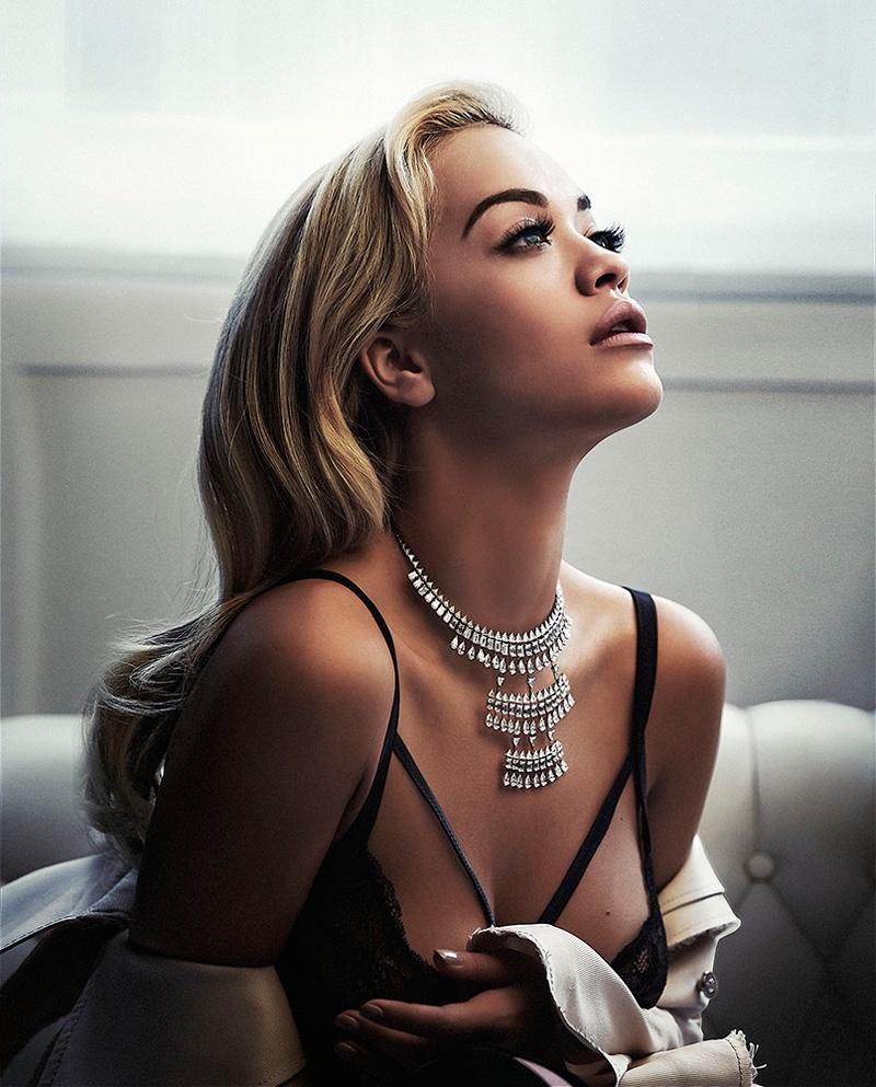 Getting her closeup, Rita Ora poses in Loewe coat, Tezenis bra and Messika necklace