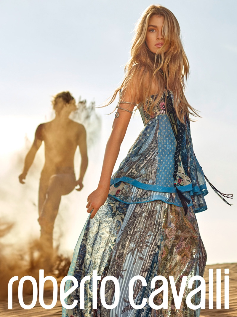 Bohemian fashions stand out in Roberto Cavalli's spring 2017 campaign