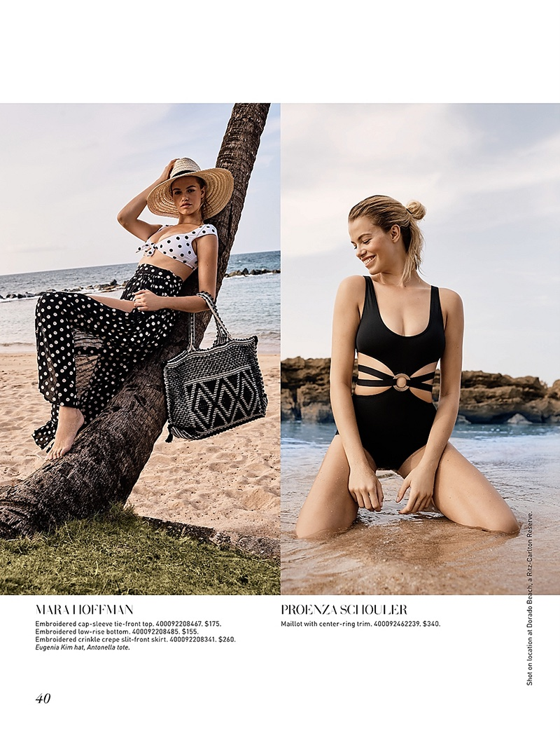 (Left) Mara Hoffman Embroidered Cap-Sleeve Tie-Front Top, Embroidered Low-Rise Bottom and Embroidered Crinkle Crepe Slit-Front Skirt (Right) Proenza Schouler Maillot with Center-Ring Trim