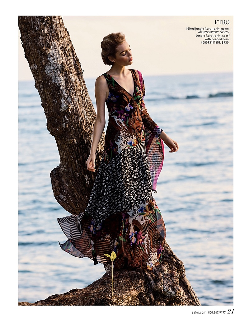 Etro Mixed Jungle Floral-Print Gown and Jungle Floral-Print Scarf with Beaded Hem