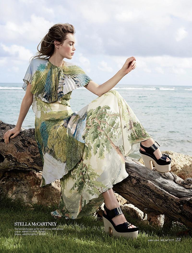 Stella McCartney Tiered Landscape-Print Midi Dress with Plisse Collar