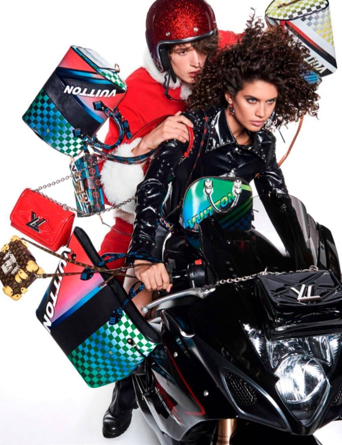 Posing on a motorbike, Sara Sampaio gets rebellious in Louis Vuitton leather