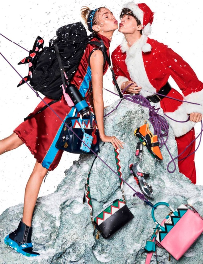 Stella Maxwell poses in Prada for this festive shot