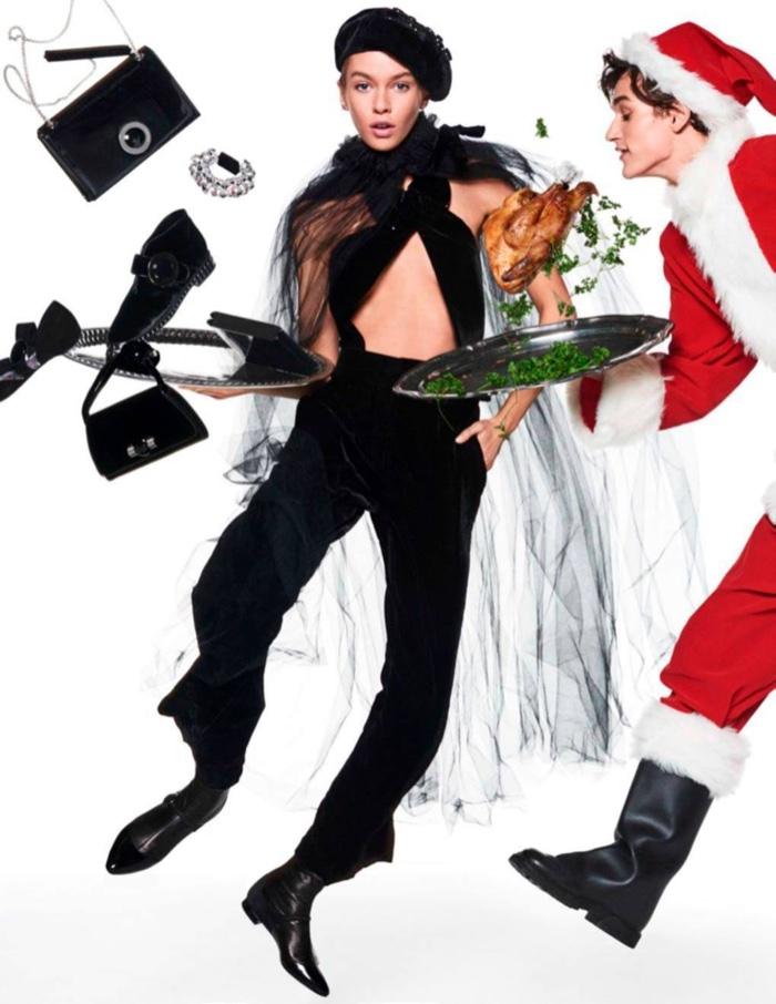 Stella Maxwell kicks up her heels in Giorgio Armani