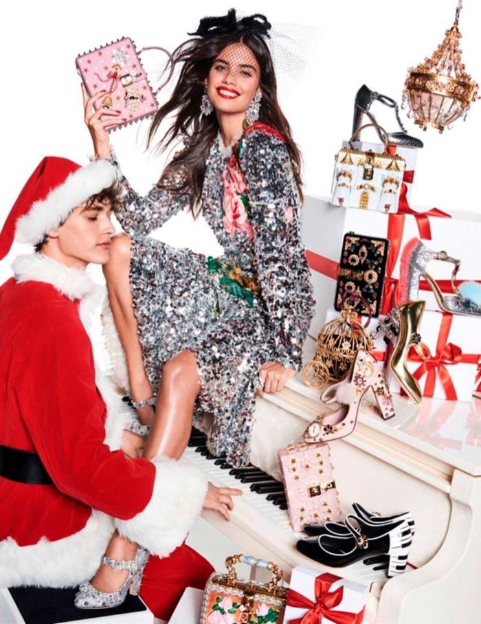 Sara Sampaio shines in silver Dolce & Gabbana dress