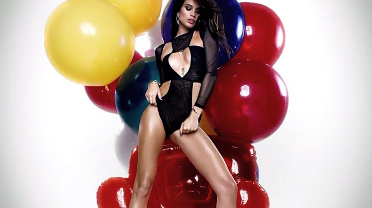 Sara Sampaio poses in a black bodysuit for LOVE film
