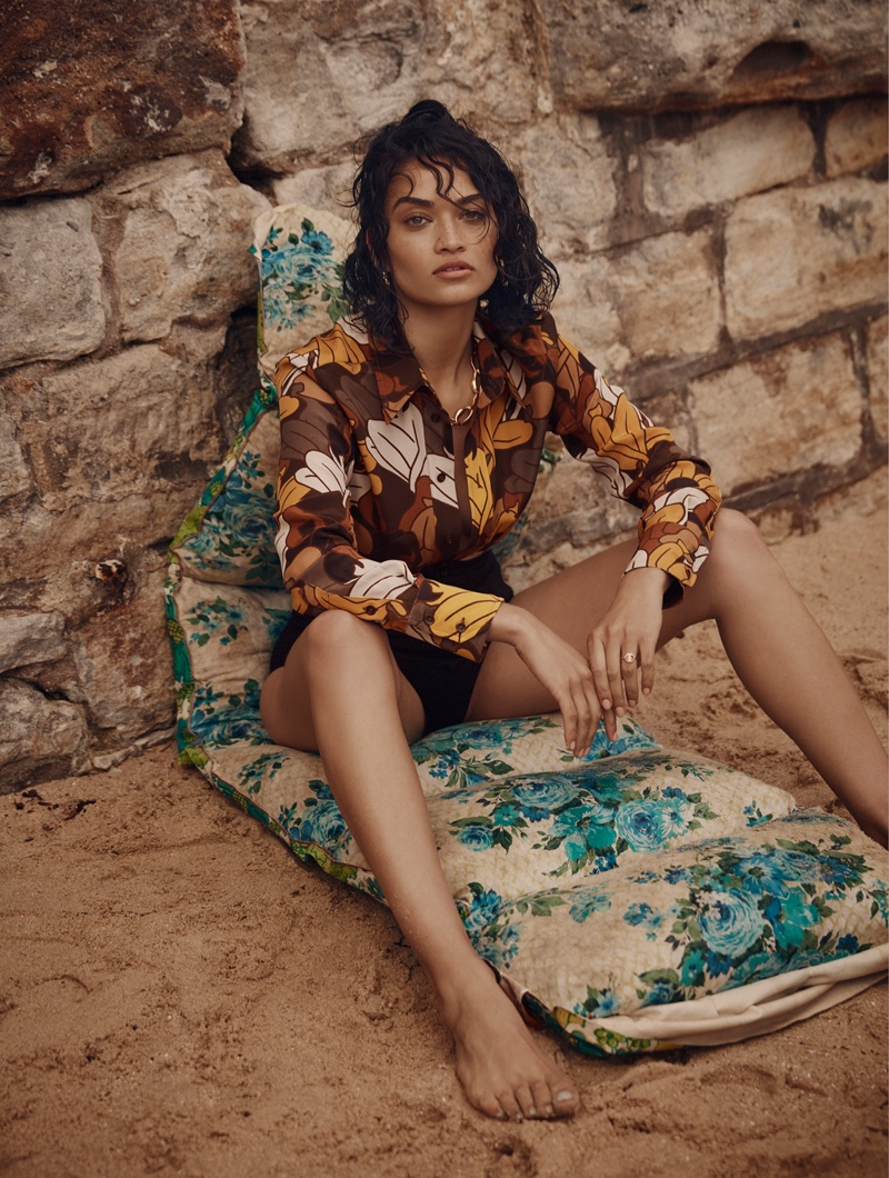 Embracing prints, Shanina Shaik models Bally shirt and Lisa Marie Fernandez bikini briefs