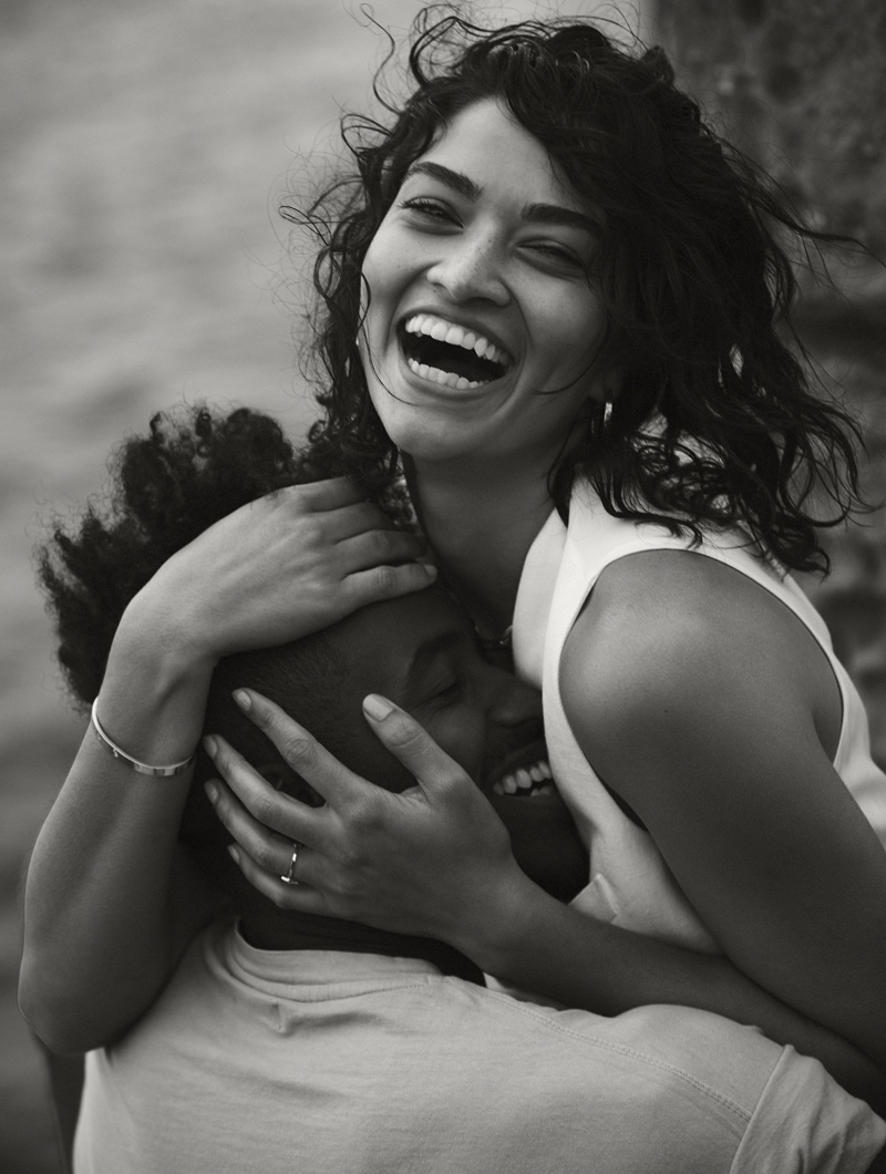 Photographed in black and white, Shanina Shaik models Polo Ralph Lauren vest