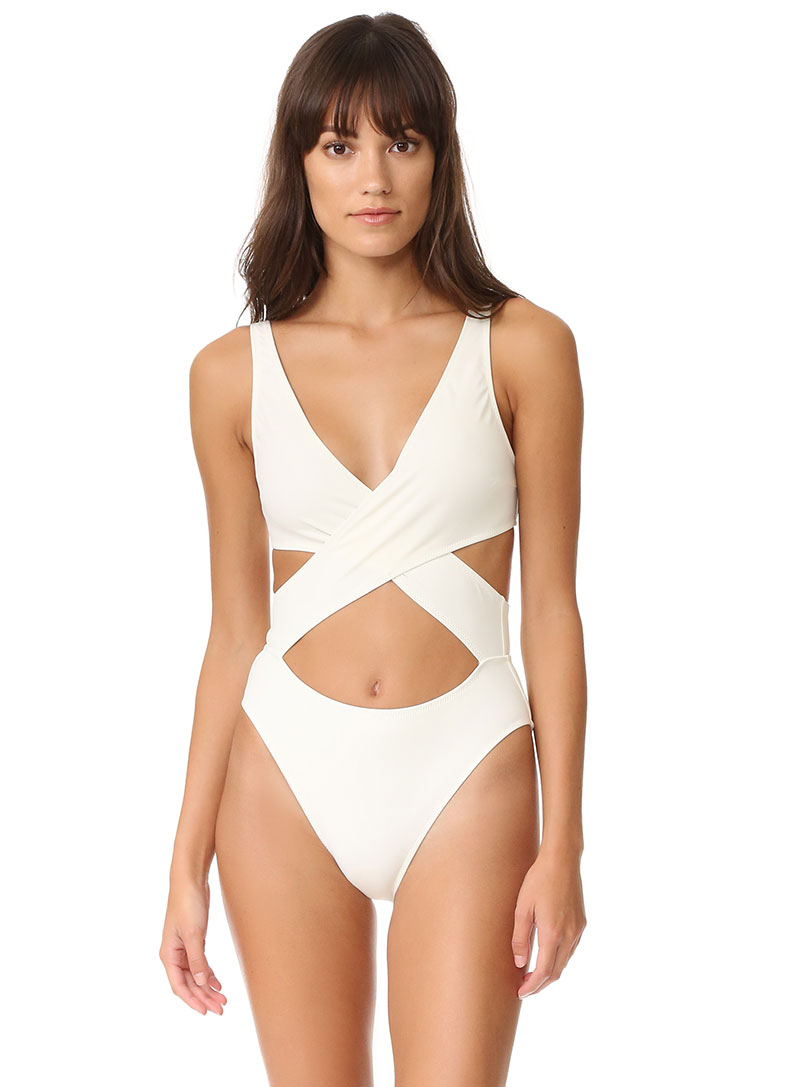 Solid & Striped Poppy Wrap One Piece Swimsuit