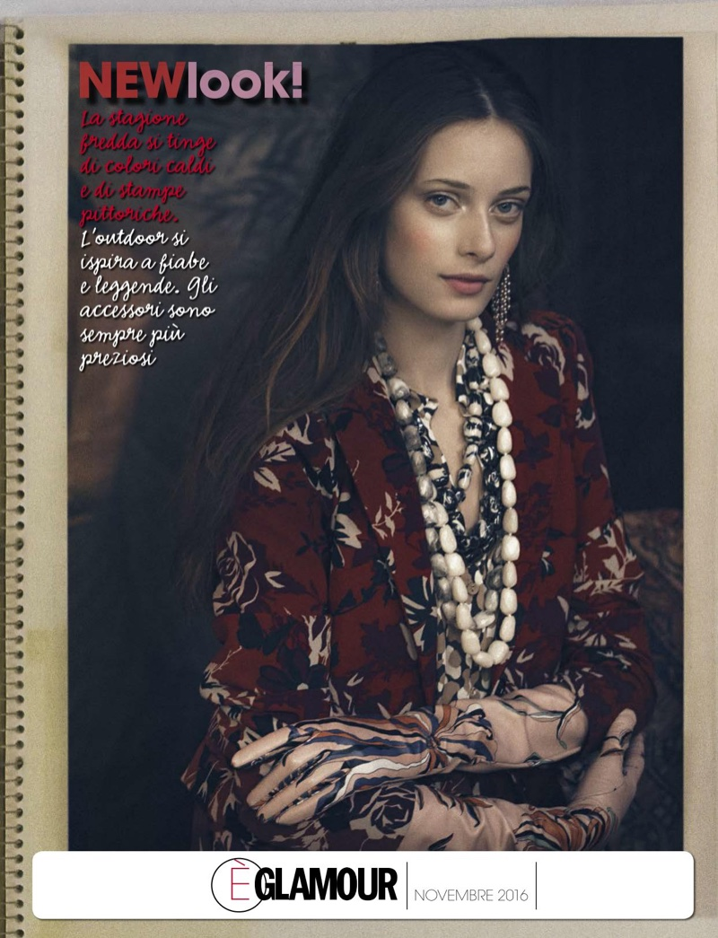 Thairine Garcia wears Patrizia Pepe floral print dress, Emilio Pucci leather gloves and Donatella Pellini jewelry